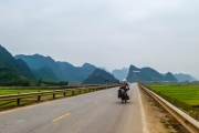 We can see the big Phong Nha sign in the distance