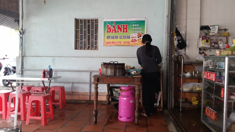 eating banh mi in Vietnam