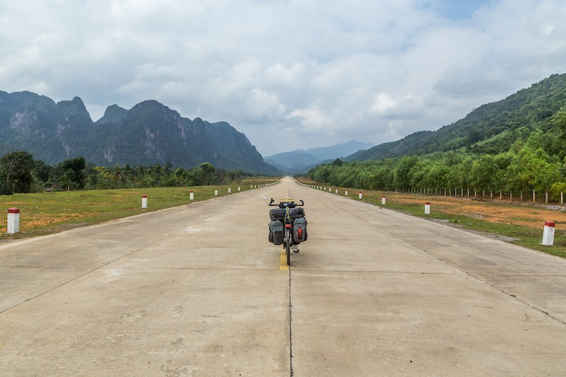 bicycle parked on former north vietnamese runway copy