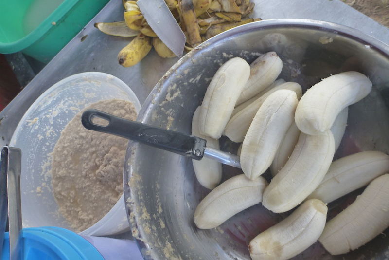 fried bananas before being cooked